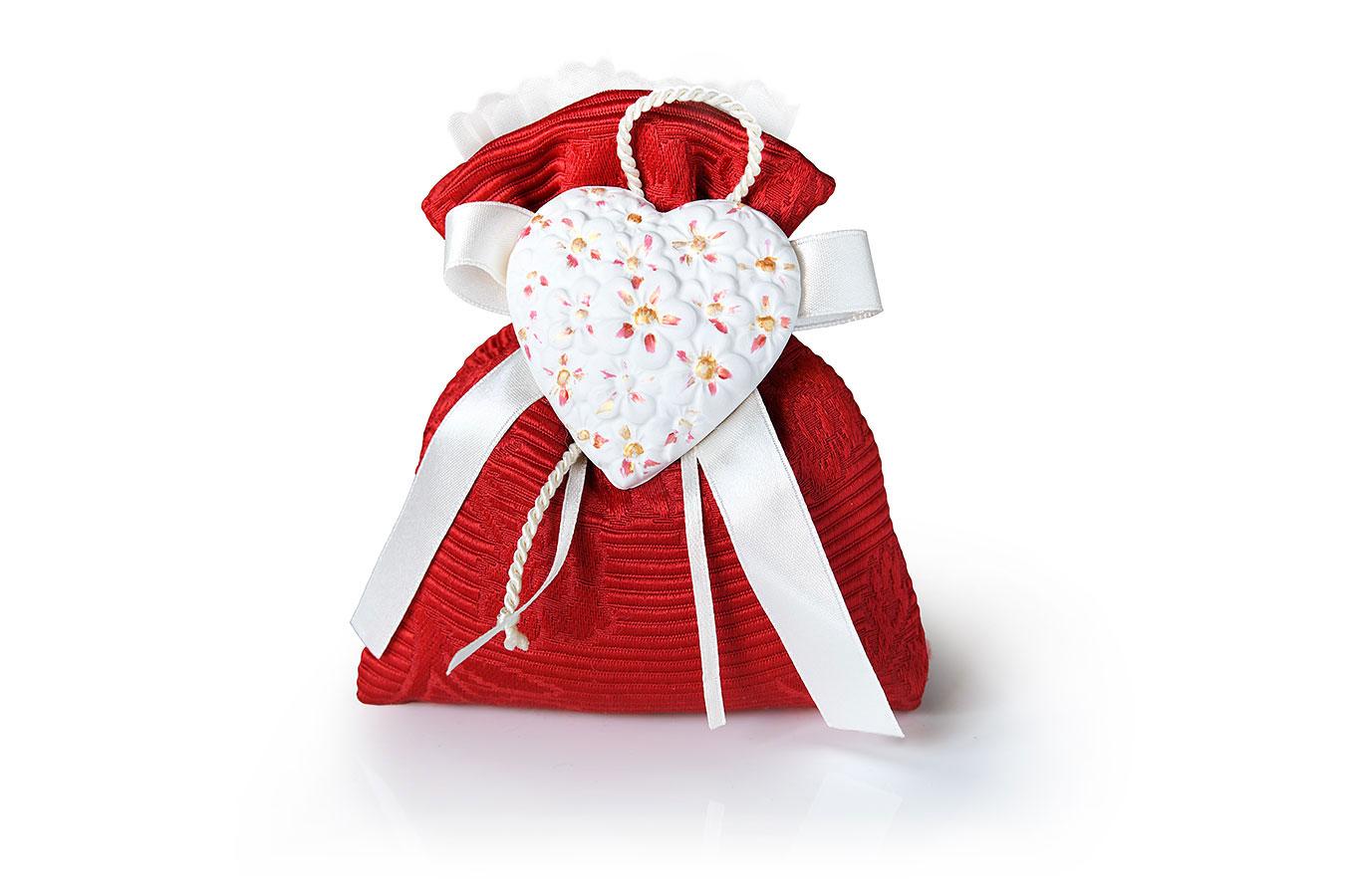 Bomboniera per matrimonio a sacchetto con stoffa damascata