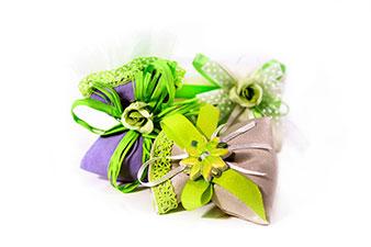 gruppo bomboniere a sacchetto color verde