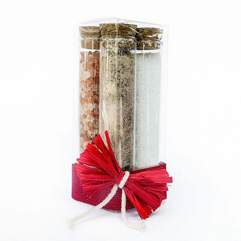 bomboniera composta da 4 provette di vetro con sale rosa e pepe