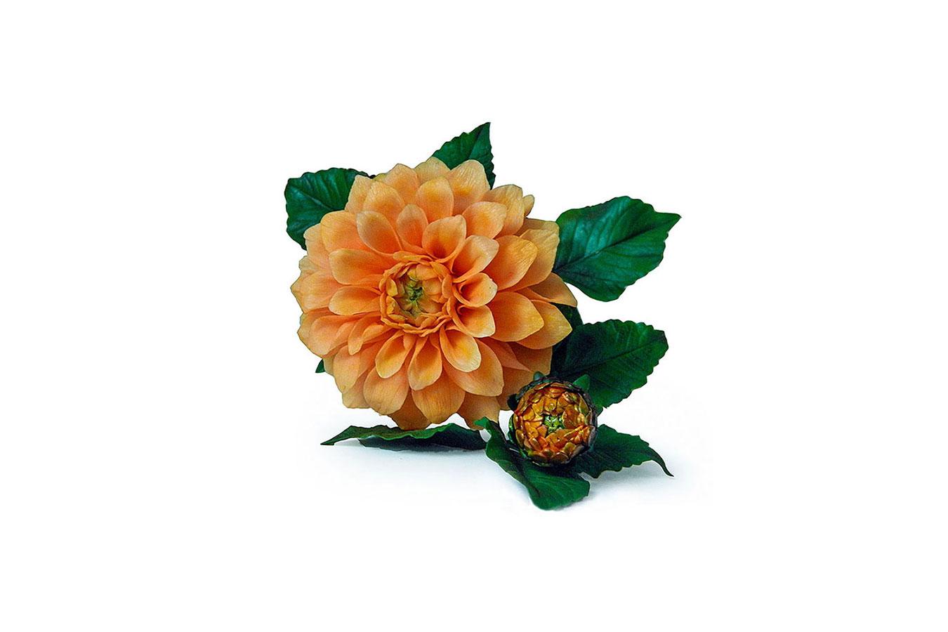 dalia arancio con bocciolo realizzata in porcellana fredda