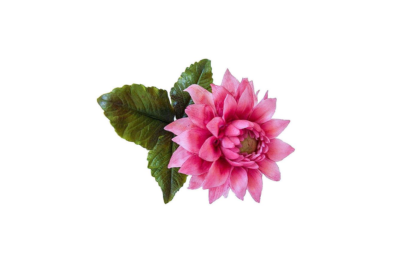 dalia rosa realizzata in porcellana fredda