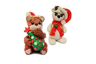 Coppia di orsetti natalizi in porcellana fredda