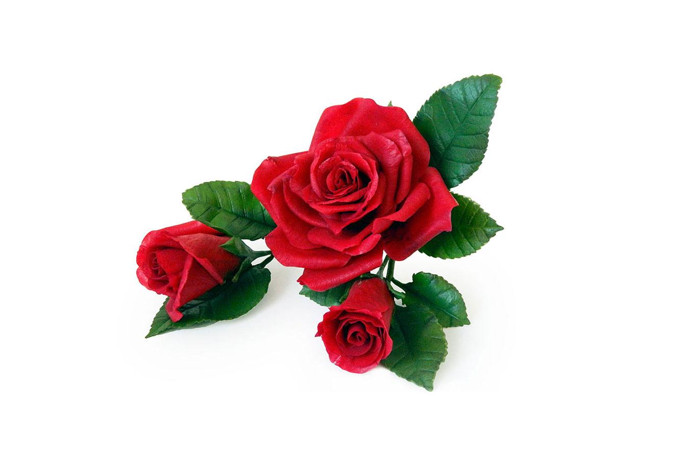 rosa rossa con bocciolo realizzata in porcellana fredda